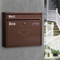 Suggestion box European-style villa mailbox outdoor wall-mounted newspaper magazine mailbox rainproof retro lock large letter box