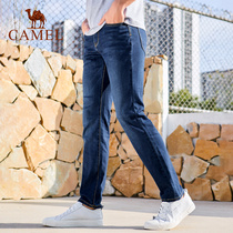 Camel mens spring stretch washed large size jeans male slim straight Korean tide youth straight long pants