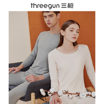 Three guns thermal underwear men and women new products early spring light elastic soft cotton round neck warm couple primer set