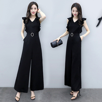 Temperament sleeveless wide leg jumpsuit female 2019 new high waist v-neck loose was thin fashion net red jumpsuit tide