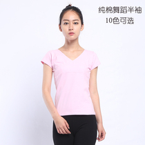 Dance top short-sleeved summer body-building cotton dance clothes training clothes v-collar fitness adult t-shirt
