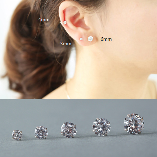 S925 Sterling Silver Stud Eards Korean Diamonds Earring.