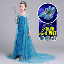 Frozen children princess dress romance love Sand Queen girls dress spring and autumn Aisha Aisha yarn tail dress