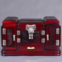Mahogany bridal courting jewelry box wedding dowry Chinese red bride Chinese style big red acid jewelry box