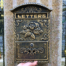 European villa cast aluminum letter box outdoor wrought iron wall with a lock newspaper box garden galvanized rainproof retro mailbox