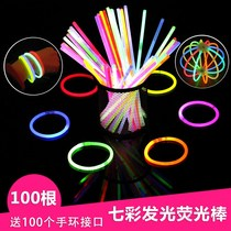 Fluorescent Stick concert coloré luminescents bracelet Bracelet jetable 100 bâton luminescent veilleuse coller les jouets