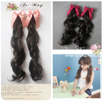 Childrens headdress childrens lady hair accessories girls curly wig ponytail cute princess coat long bow