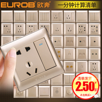 European-86 socket Household Panel oblique 5 five holes 16A air conditioning wall with USB concealed gold switch socket