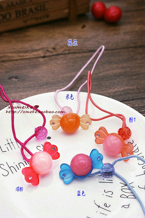 South Korean version of childrens candy ribbon water drill flower cute leather hair ring with the same head rope hair rope head flower hair ornament.