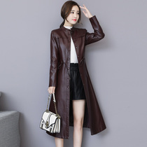 Haining leather Spring and autumn new womens leather with cotton leather windbreaker sheep leather coat long middle-aged big-size girl
