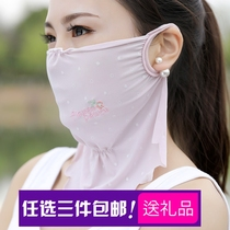 TS pseudo Niang lady flower embroidery dot glue point mask pseudo Street dress female outdoor ice wire dust-proof sunscreen mask