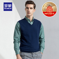 Romon Romon pure wool V-neck thin sweater sleeveless sweater new casual hedging inside the vest male