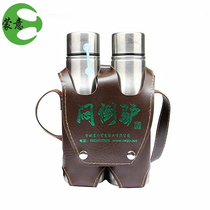 Double back pot stuffy donkey wine 60° stuffy donkey wine green and green stainless steel round pot 500ml*2 Prairie rare Zhuang wine