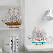 Sailing model creative Mediterranean style home easy sailing decoration wooden solid wood boat craft boat decorations