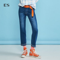 Egger ES spring 2019 models female New simple commuter solid color straight nine jeans 8e0323102