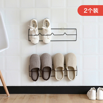 2 installed bathroom slippers rack wall hanging free punch after the shoe care rack household toilet storage hook