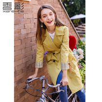 Windbreaker female long section Xiangying 2019 Spring New popular Korean version of the double-breasted Slim was thin casual jacket
