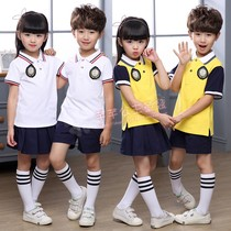 British style kindergarten clothes spring and summer new primary school students yellow school uniform 61 childrens pure cotton graduation chorus class clothing