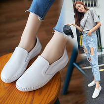 2019 summer new breathable small white shoes female wild base flat fun shoes female leather Korean casual shoes
