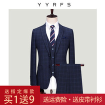 Summer suit suit mens three-piece suit Korean slim groom wedding dress dress striped suit British style