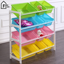 Famini childrens solid wood frame toy storage rack kindergarten multi-storey storage finishing shelf baby storage cabinet