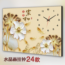 New Chinese single living room hanging painting restaurant no frame painting clock meter box decorative painting Lotus Watch home and Rich