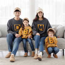 South Korea parent-child wear spring and autumn cotton sweater letter 2020 new family outfit a family of three mother and daughter outfit