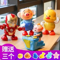 Shake sound dance pig shake sound with the toy electric swing Iron Man will dance robot dj pig little fart yellow