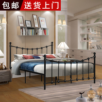 Fashion wrought iron bed steel pipe paint green iron bed rental room bed 1 5 M 1 8 m double bed childrens bed