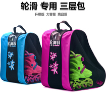 Roller skating package childrens storage bag triangle large capacity three layer single shoulder bag skating shoes protective gear helmet skating shoes backpack