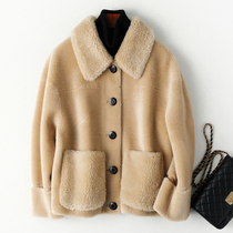 Granular cashmere short section of Haining fur one fur cashmere small man cashmere shearling coat lambskin coat female Winter
