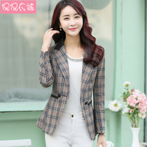 2019 spring new womens small suit female jacket Korean slim chic plaid small suit long sleeve large size female