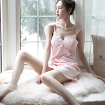 Sexy pajamas female transparent show fun tease lingerie lace suspenders summer Thin Ice Silk nightdress hot gather
