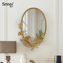 Creative wall mirror stickers wall entrance decorative wall hanging wall iron decorative mirror three-dimensional handmade pendant