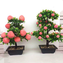 Fake peach tree simulation peach tree plastic fake fruit tree decoration Buddha flower flower flower flower flower flower flower flower flower
