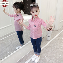 Childrens shirt girls shirt spring and autumn loaded 2019 new female baby long-sleeved Korean version of the shirt in the large children leisure tide