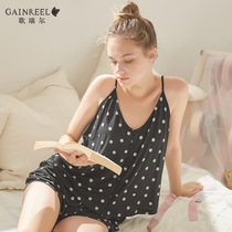 Goerel sweet polka dot sexy V-neck suspenders pajamas women summer thin section two-piece home service suits 19076HS