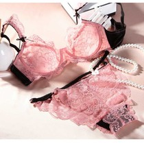 Bra set lace gathered bra ultra-thin breathable chiffon sexy underwear set a generation of hair