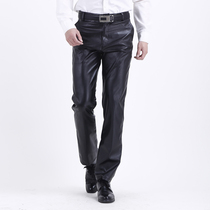 Spring and Summer mens wind and moisture-proof oil leather pants in the elderly leather pants casual high waist straight work leather pants
