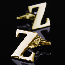 (Gift box) 26 English letters A-Z cufflinks gold sleeves nails