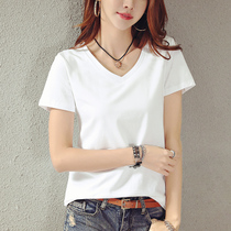 Summer 2019 new white V-neck short-sleeved T-shirt womens loose half-sleeved T-shirt solid color large size clothes Tide