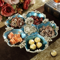 American fruit plate coffee table ornaments decorations creative grid plate home retro luxury living room European-style dried fruit plate
