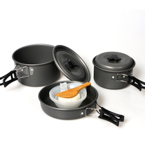 Authentic 2-3 people sets of pot outdoor camping stove cookware sets of pot 2-3 people high quality portable non-stick