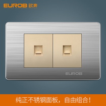 European Ben switch socket panel E9 stainless steel drawing 118 Type two telephone computer wall socket switch