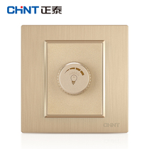 CHiNT switch socket panel 7L champagne color drawing dimmer switch panel 86 type panel