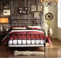 American country wrought iron double bed 1 2 M 1 5 M 1 8 m single bed iron bedstead pastoral retro bed spot