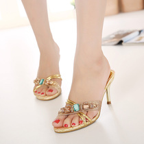 Womens slippers summer 2019 Korea new high-heeled diamond fashion fine heeled sandals gold womens sandals
