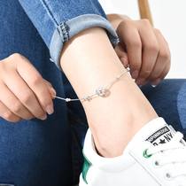 925 sterling silver transfer beads hollow anklet female Korean version of the wild students creative foot ring ankle chain simple
