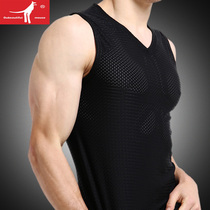Mens vest V-neck wide shoulder ice mesh eye sleeveless T-shirt loose hollow fitness quick-drying breathable waistcoat male