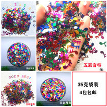 Letters sequins five-star peach heart Flash film nail patch handmade diy production slime Crystal mud jewelry accessories